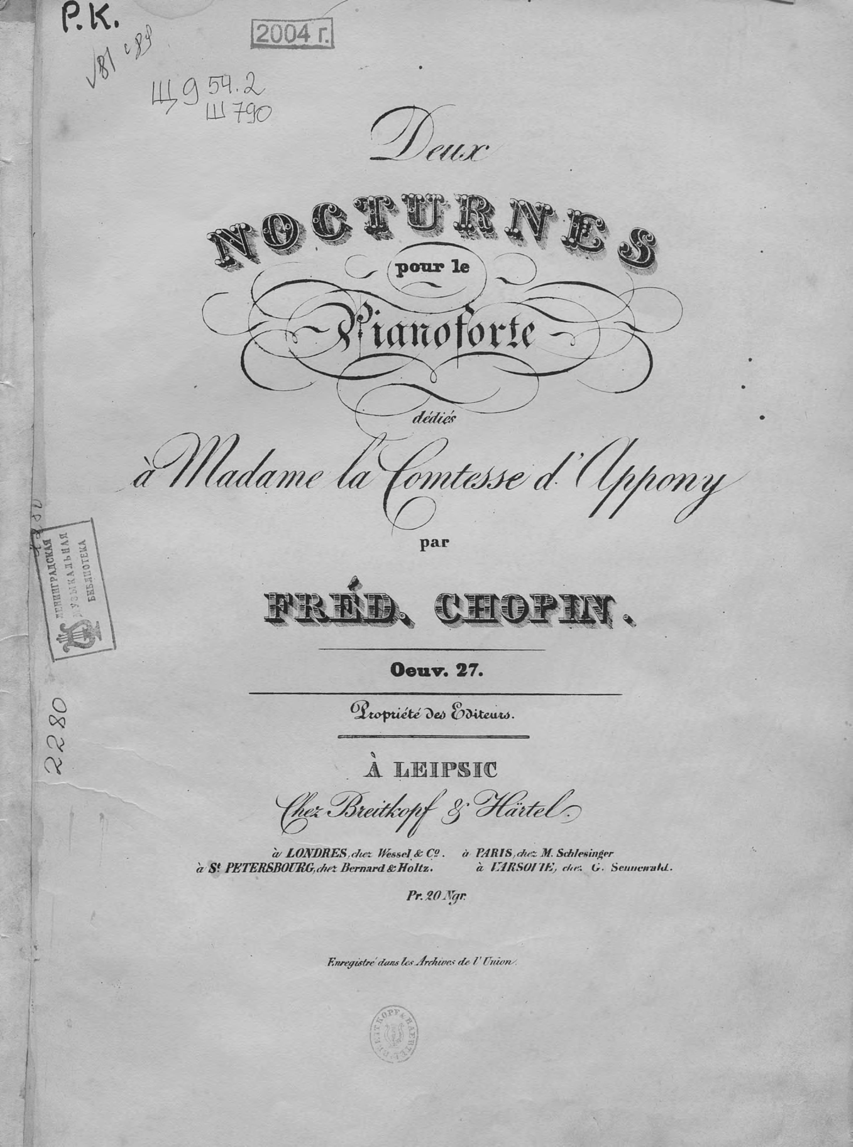 Фредерик Шопен Deux nocturnes pour le pianoforte par Fred. Chopin цена и фото