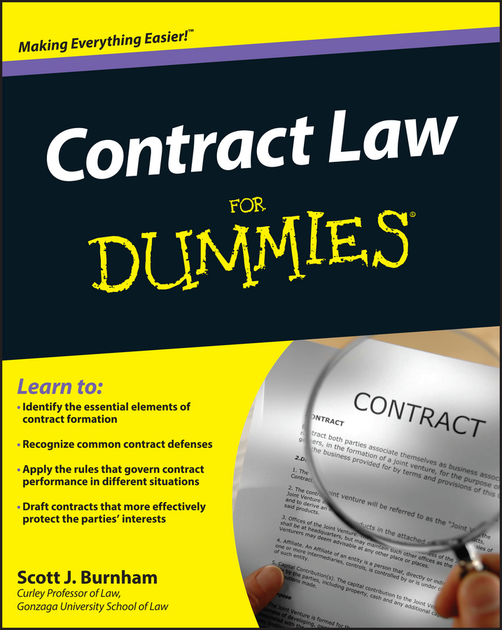 Scott Burnham J. Contract Law For Dummies a republic of law