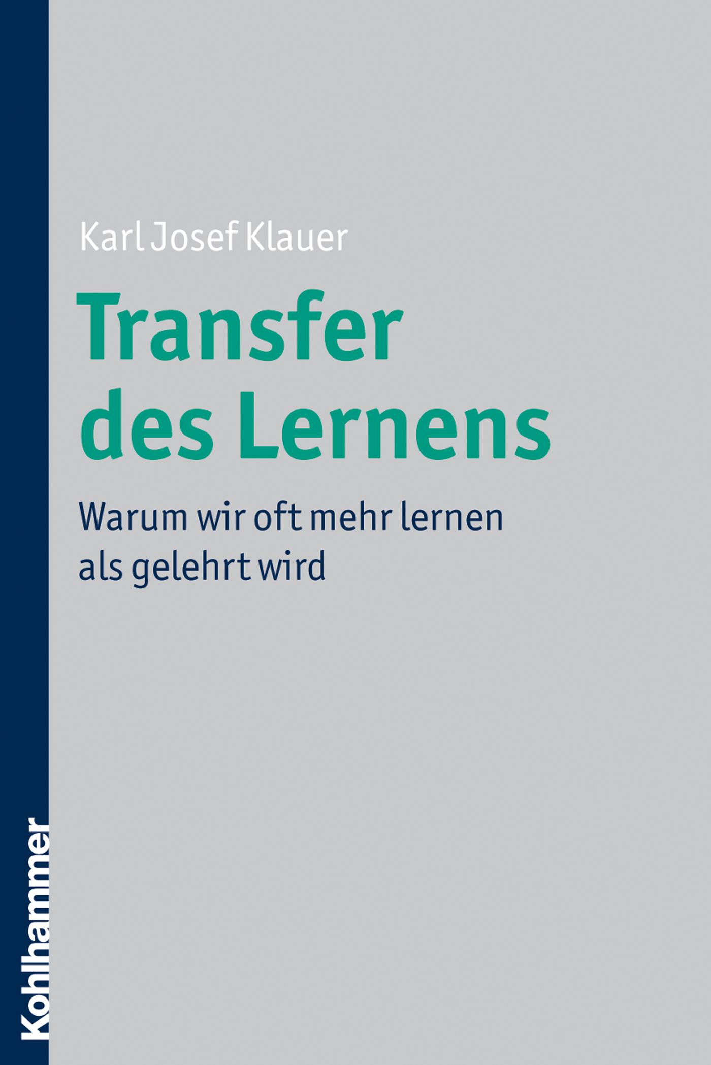 Karl Josef Klauer Transfer des Lernens
