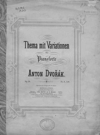Антонин Дворжак Thema mit variationen fur pianoforte h von herzogenberg thema und variationen op 86